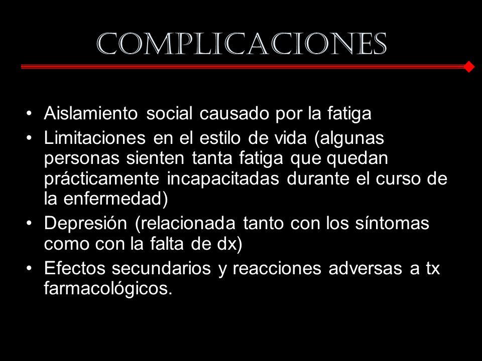 Complicaciones Aislamiento social causado por la fatiga
