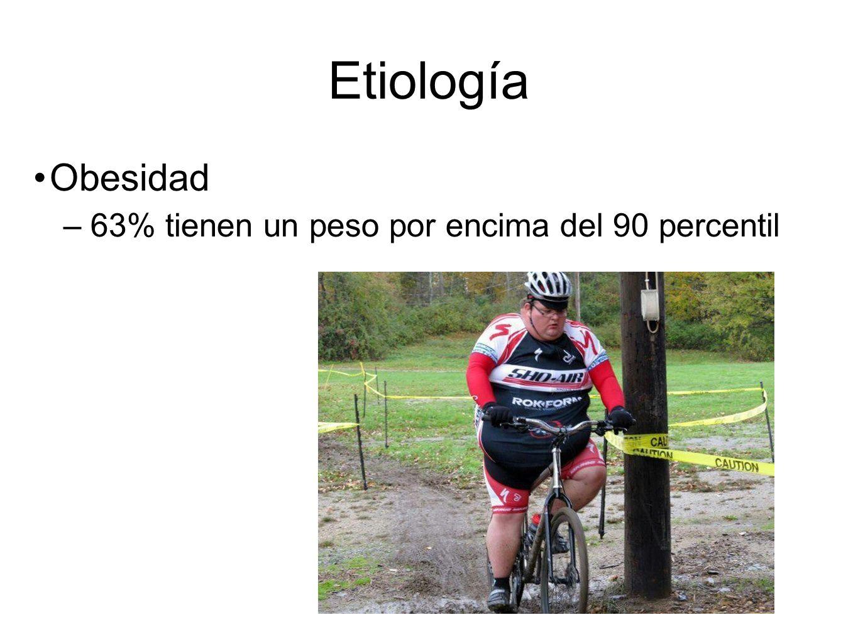 Etiología Obesidad 63% tienen un peso por encima del 90 percentil
