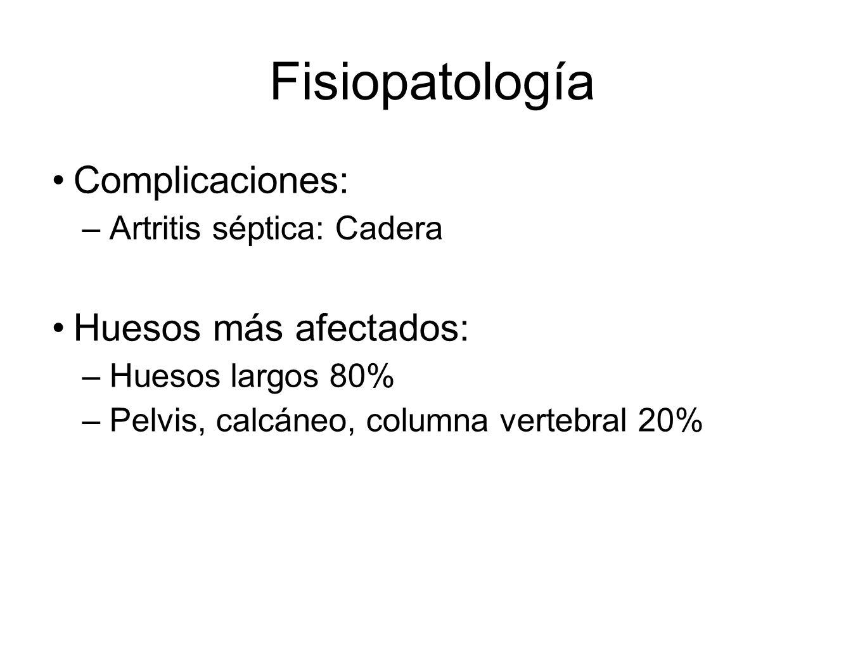 Fisiopatología Complicaciones: Huesos más afectados: