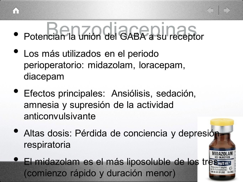 Benzodiacepinas Potencian la unión del GABA a su receptor