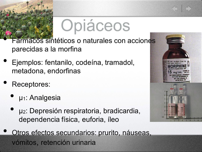OpiáceosFármacos sintéticos o naturales con acciones parecidas a la morfina. Ejemplos: fentanilo, codeína, tramadol, metadona, endorfinas.