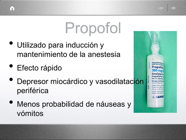 Propofol Utilizado para inducción y mantenimiento de la anestesia