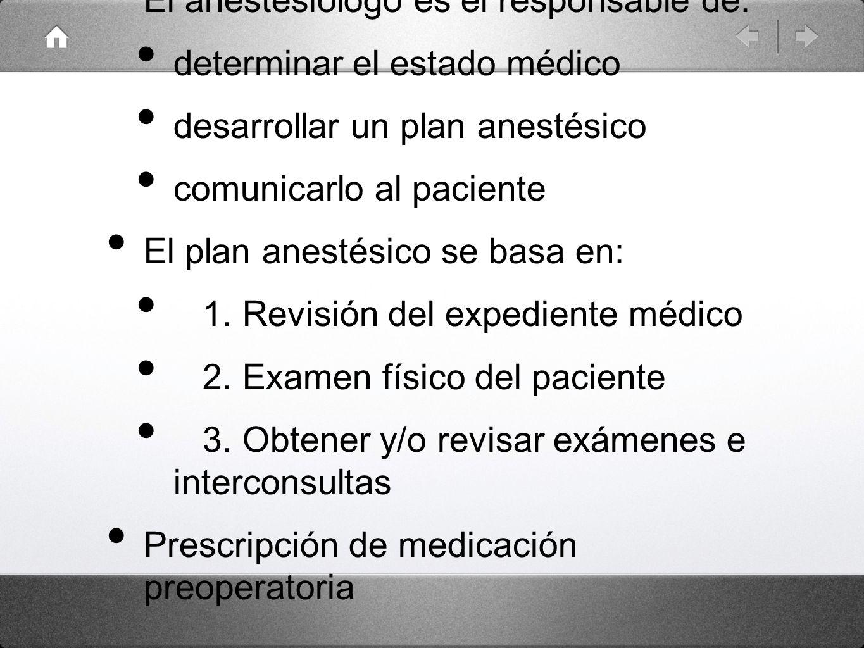 El anestesiólogo es el responsable de: