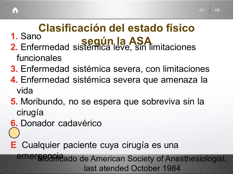 Clasificación del estado físico según la ASA