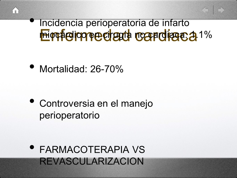 Enfermedad cardiaca Incidencia perioperatoria de infarto miocárdico en cirugía no cardiaca: 1.1% Mortalidad: 26-70%