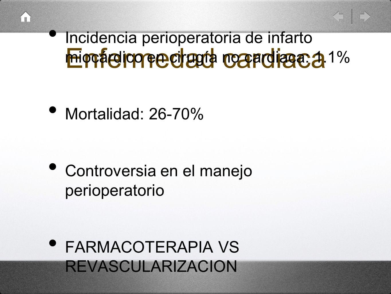 Enfermedad cardiacaIncidencia perioperatoria de infarto miocárdico en cirugía no cardiaca: 1.1% Mortalidad: 26-70%