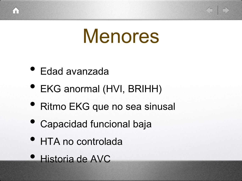 Menores Edad avanzada EKG anormal (HVI, BRIHH)