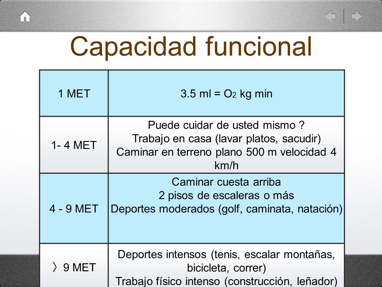 Capacidad funcional 1 MET 3.5 ml = O2 kg min 1- 4 MET