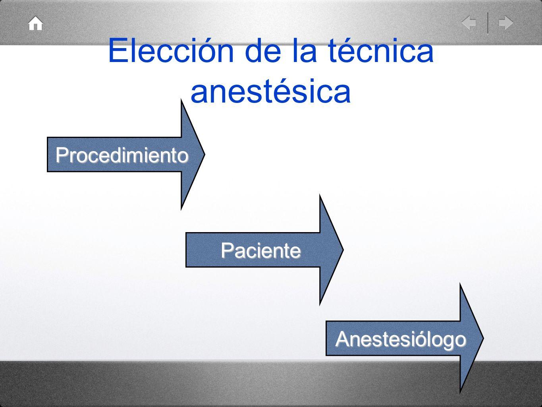 Elección de la técnica anestésica