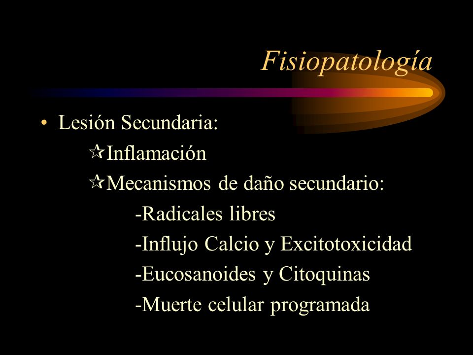Fisiopatología Lesión Secundaria: Inflamación