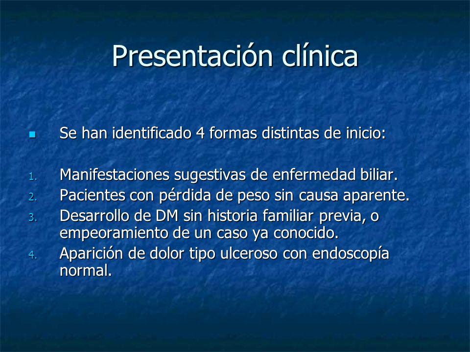Presentación clínica Se han identificado 4 formas distintas de inicio:
