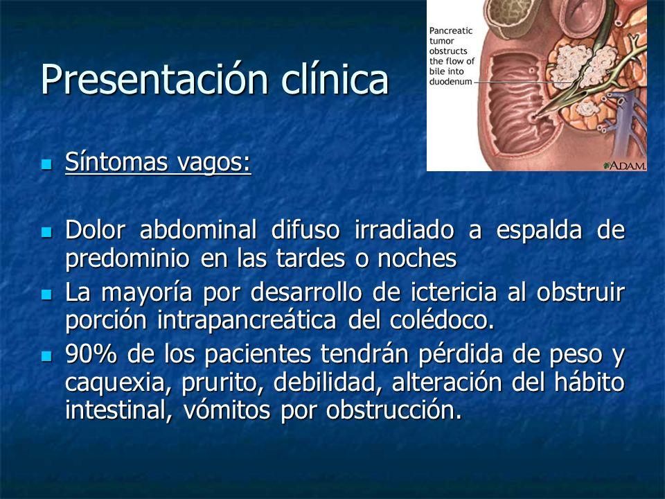 Presentación clínica Síntomas vagos: