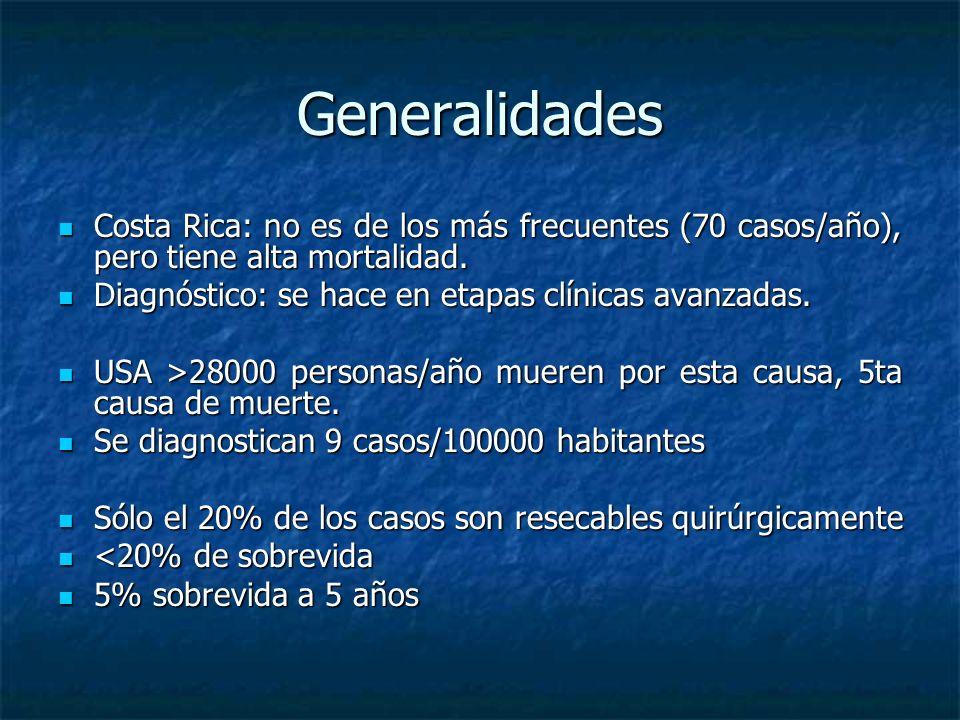 Generalidades Costa Rica: no es de los más frecuentes (70 casos/año), pero tiene alta mortalidad. Diagnóstico: se hace en etapas clínicas avanzadas.