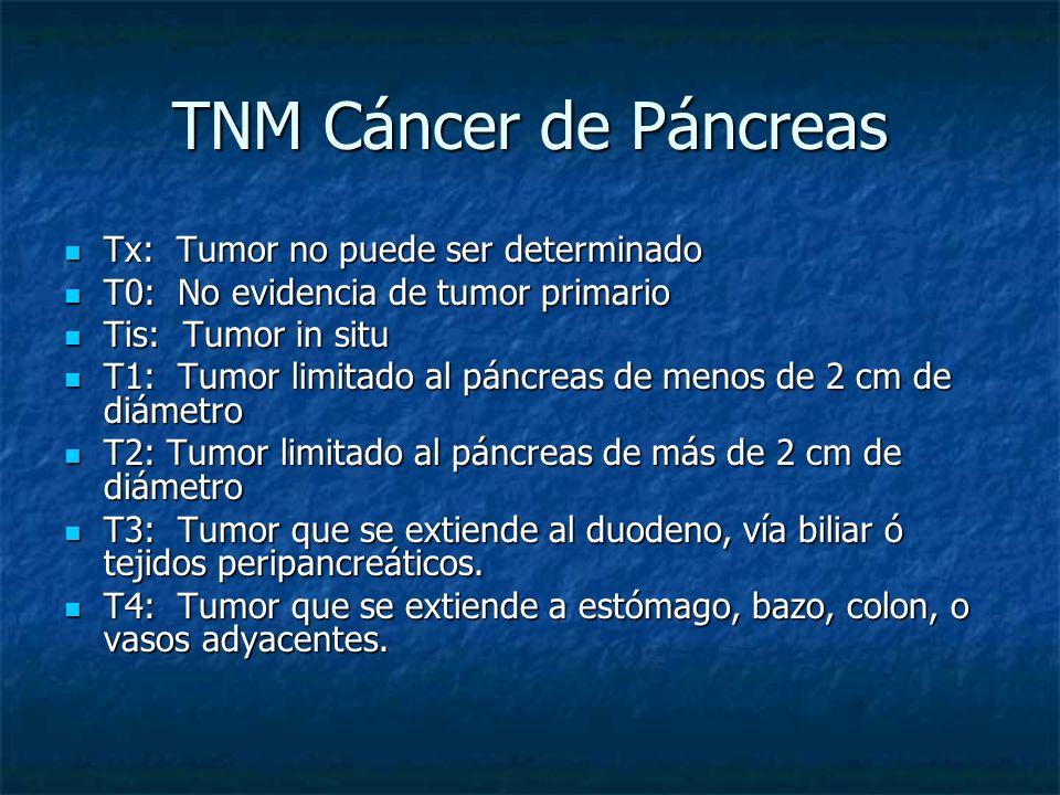 TNM Cáncer de Páncreas Tx: Tumor no puede ser determinado