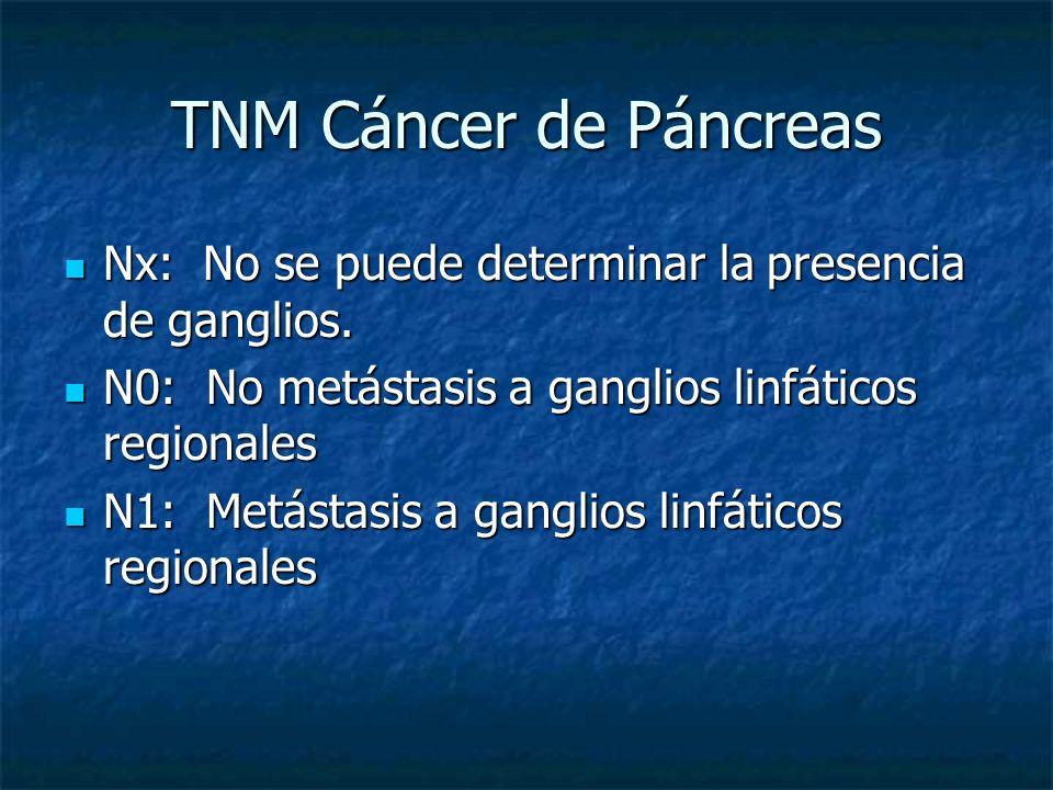 TNM Cáncer de Páncreas Nx: No se puede determinar la presencia de ganglios. N0: No metástasis a ganglios linfáticos regionales.