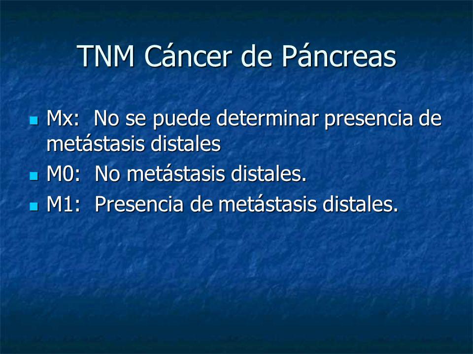 TNM Cáncer de Páncreas Mx: No se puede determinar presencia de metástasis distales. M0: No metástasis distales.