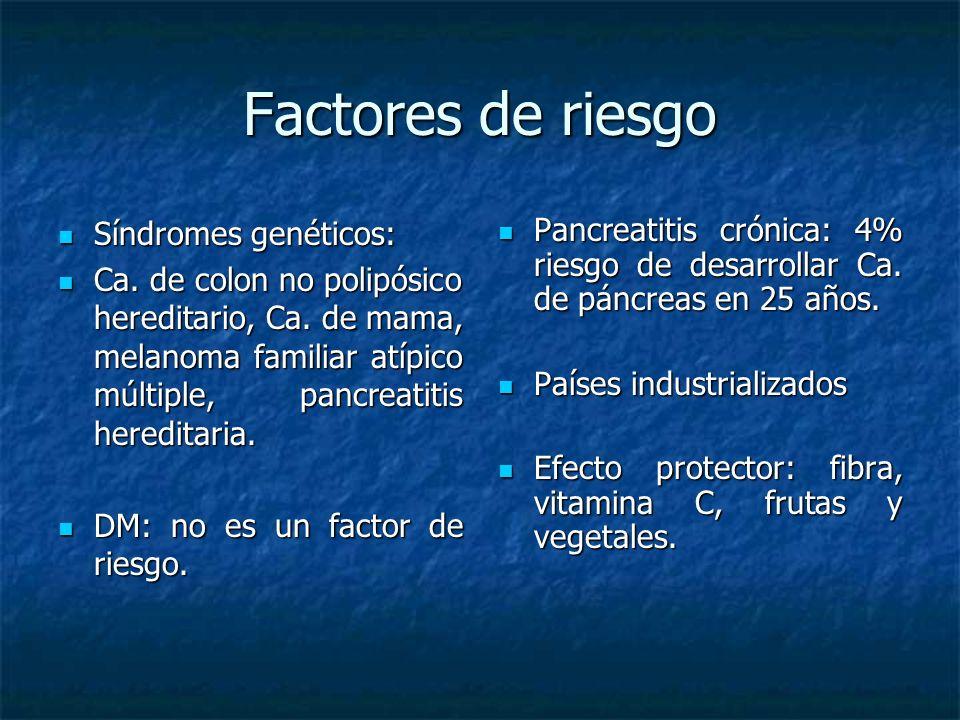 Factores de riesgo Síndromes genéticos: