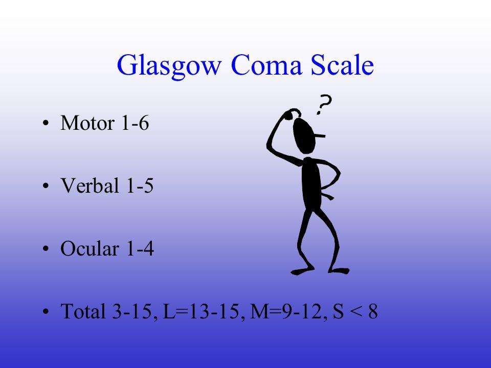 Glasgow Coma Scale Motor 1-6 Verbal 1-5 Ocular 1-4