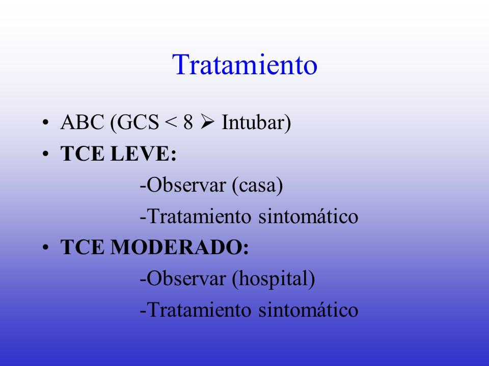 Tratamiento ABC (GCS < 8  Intubar) TCE LEVE: -Observar (casa)