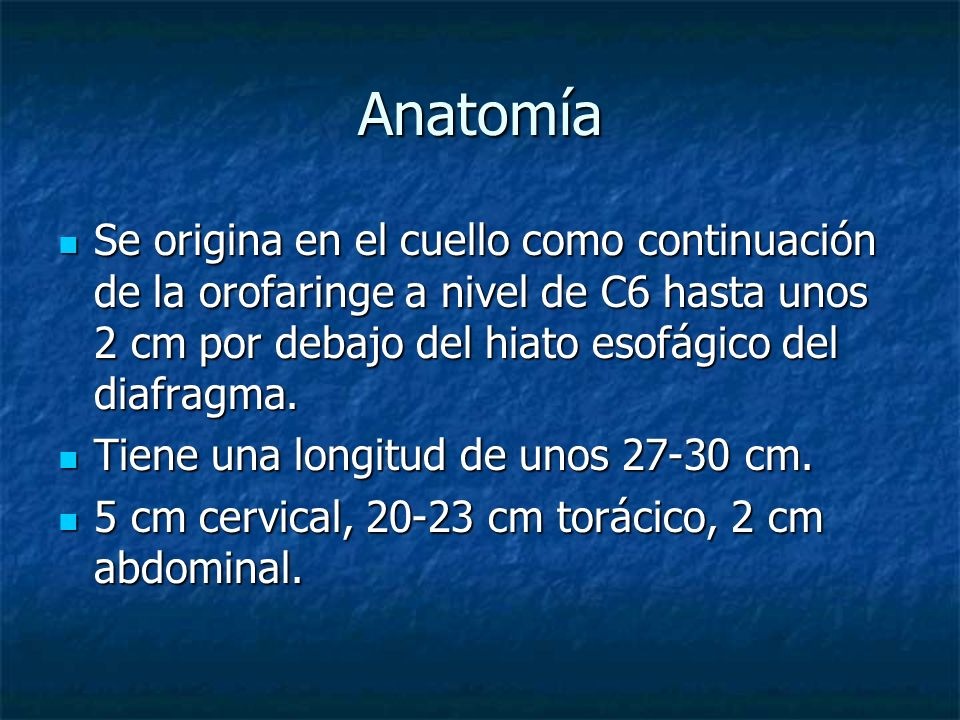 Anatomía Se origina en el cuello como continuación de la orofaringe a nivel de C6 hasta unos 2 cm por debajo del hiato esofágico del diafragma.
