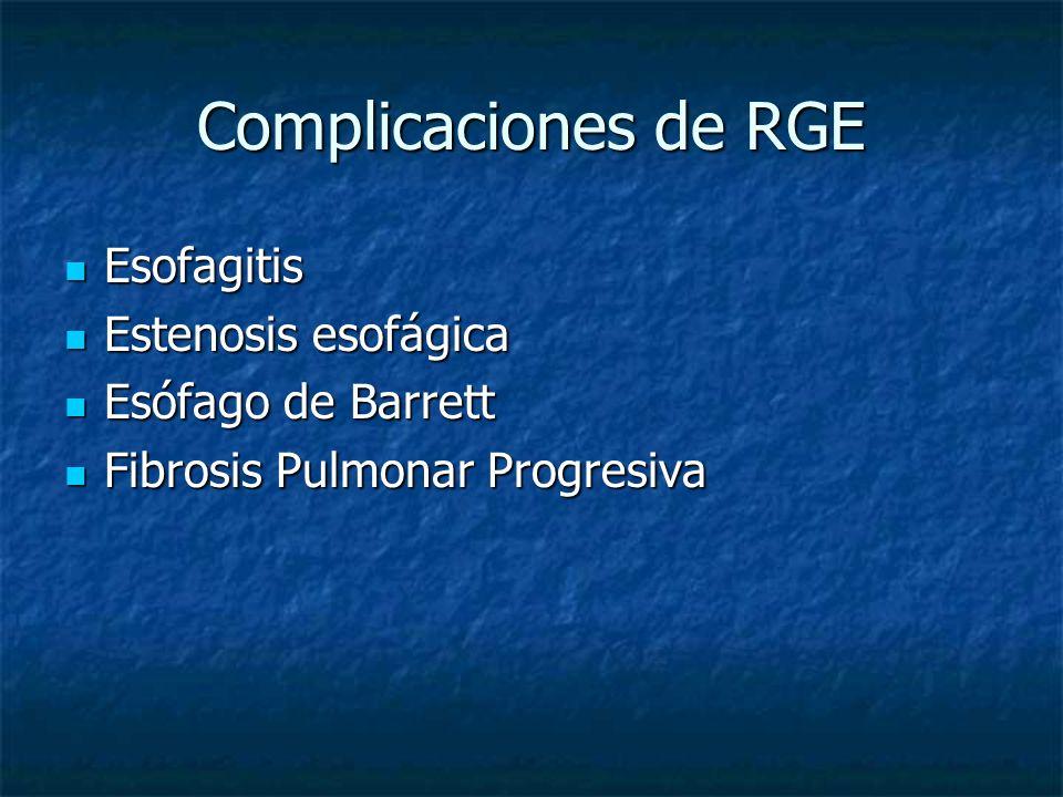 Complicaciones de RGE Esofagitis Estenosis esofágica