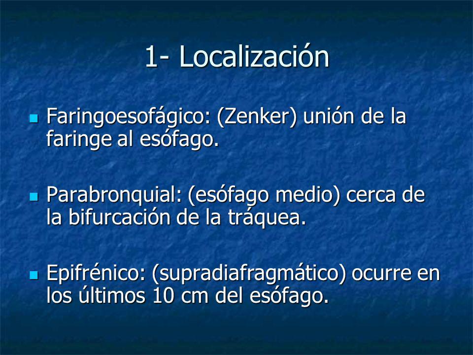1- Localización Faringoesofágico: (Zenker) unión de la faringe al esófago. Parabronquial: (esófago medio) cerca de la bifurcación de la tráquea.