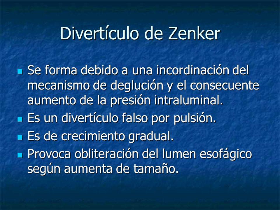 Divertículo de Zenker Se forma debido a una incordinación del mecanismo de deglución y el consecuente aumento de la presión intraluminal.