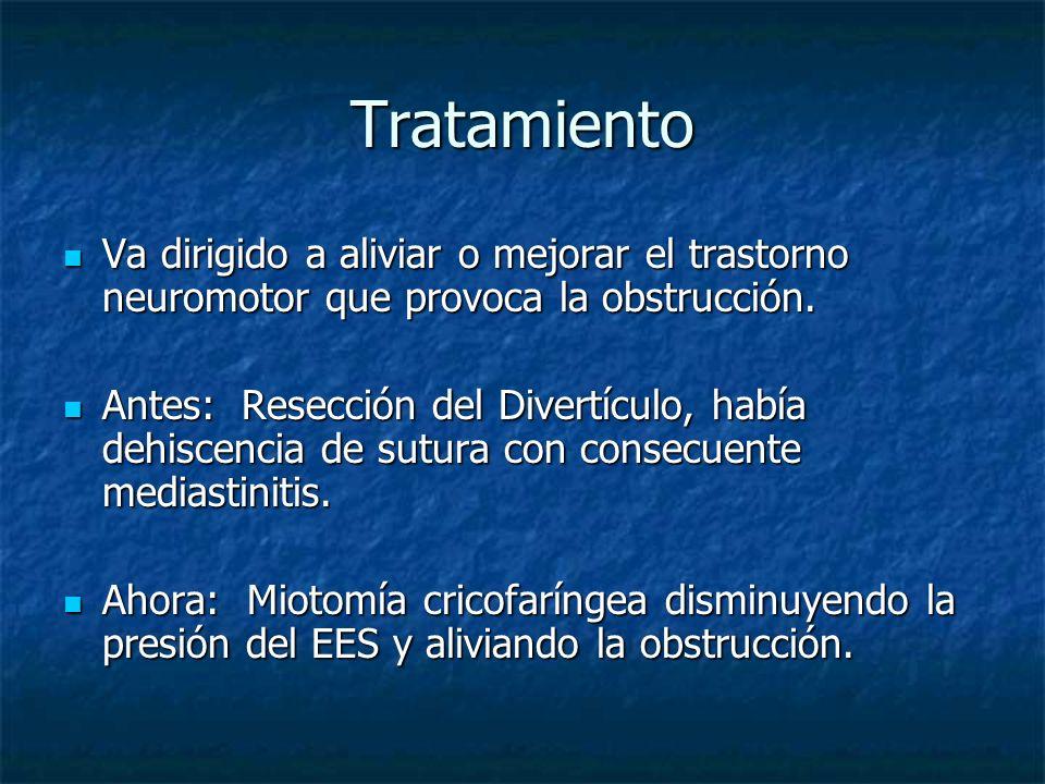 Tratamiento Va dirigido a aliviar o mejorar el trastorno neuromotor que provoca la obstrucción.