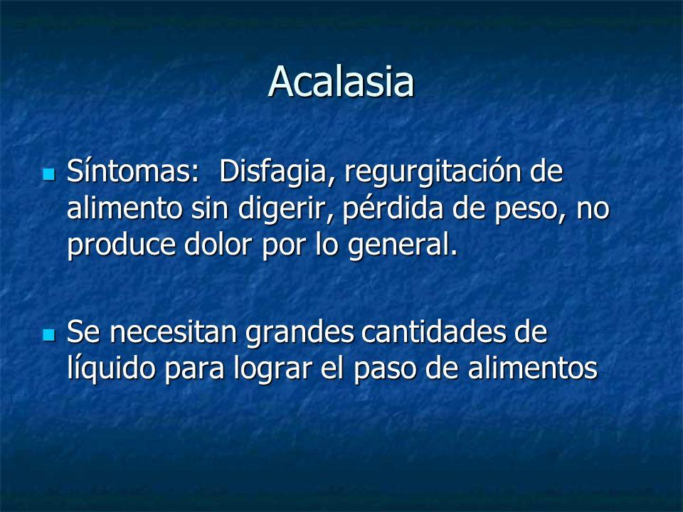 AcalasiaSíntomas: Disfagia, regurgitación de alimento sin digerir, pérdida de peso, no produce dolor por lo general.