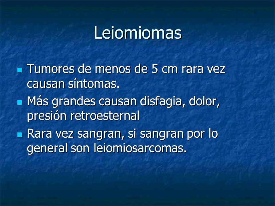 Leiomiomas Tumores de menos de 5 cm rara vez causan síntomas.