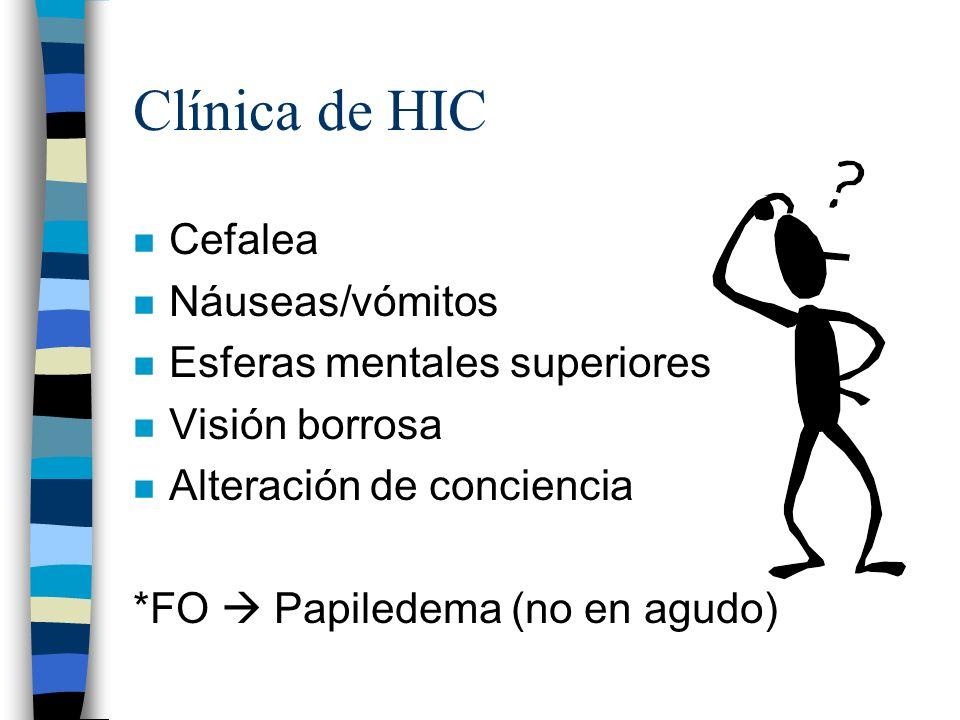 Clínica de HIC Cefalea Náuseas/vómitos Esferas mentales superiores