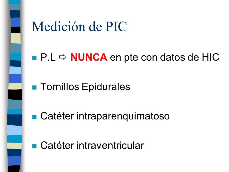 Medición de PIC P.L  NUNCA en pte con datos de HIC