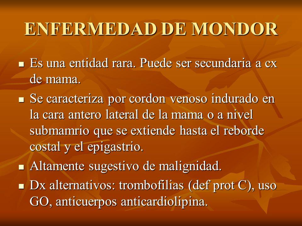 ENFERMEDAD DE MONDOREs una entidad rara. Puede ser secundaria a cx de mama.