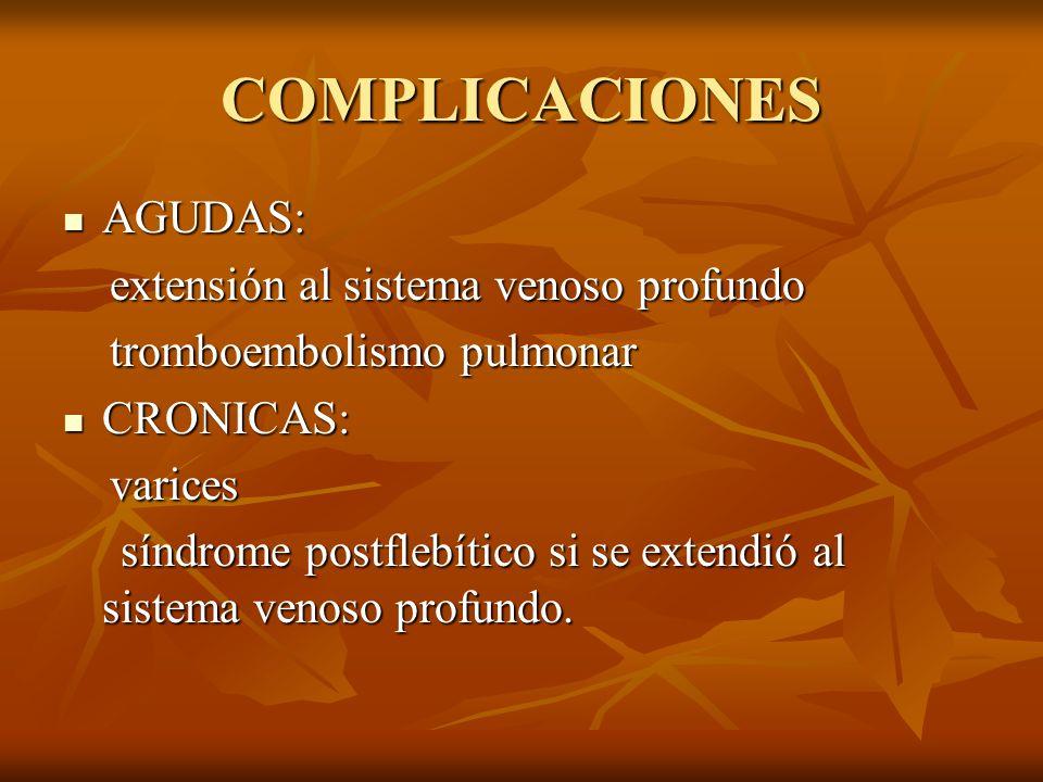 COMPLICACIONES AGUDAS: extensión al sistema venoso profundo