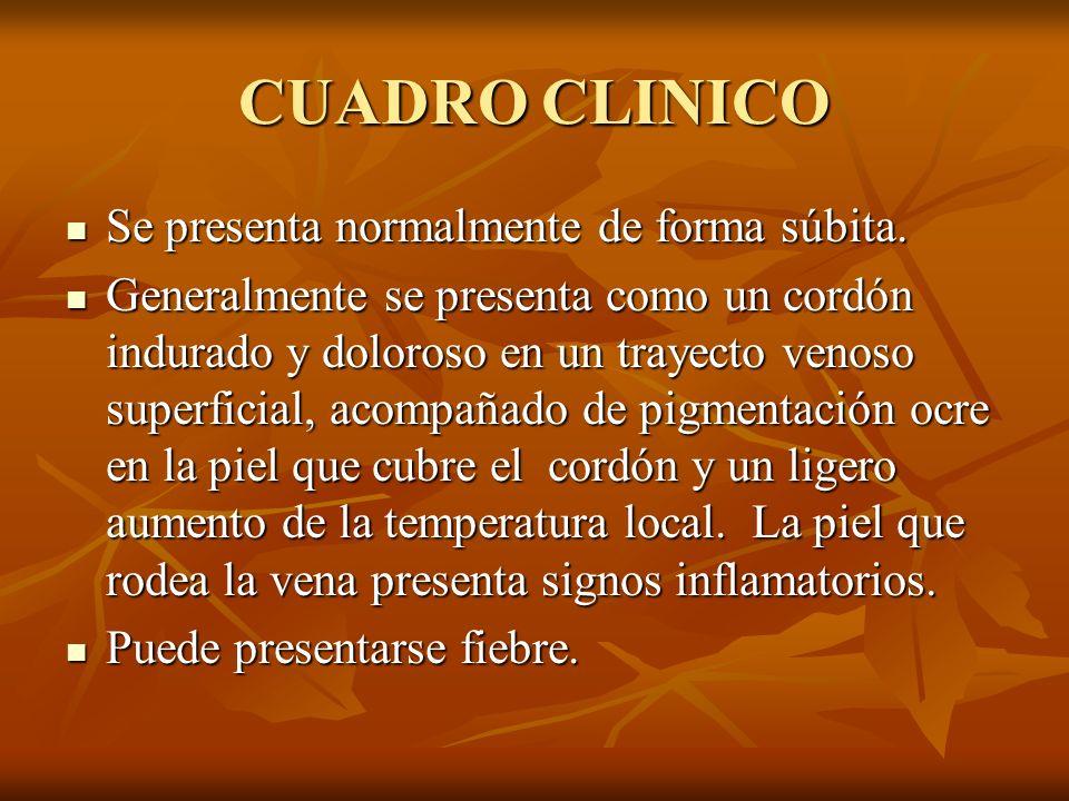 CUADRO CLINICO Se presenta normalmente de forma súbita.