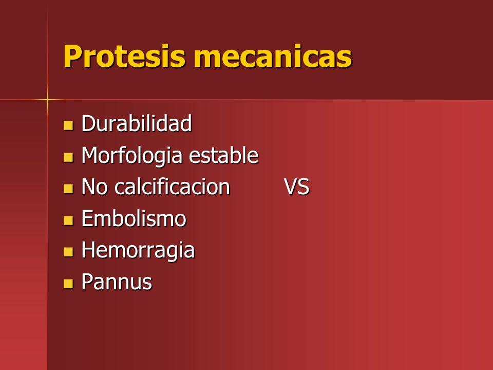 Protesis mecanicas Durabilidad Morfologia estable No calcificacion VS
