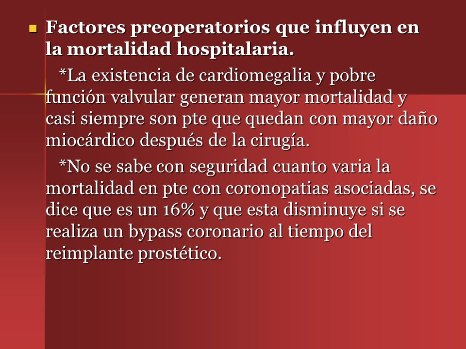 Factores preoperatorios que influyen en la mortalidad hospitalaria.
