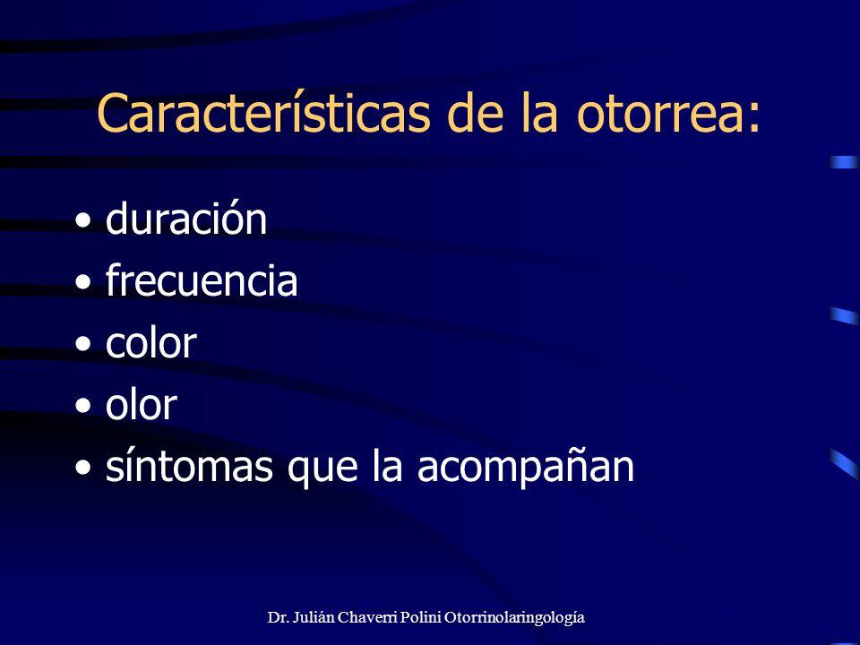 Características de la otorrea: