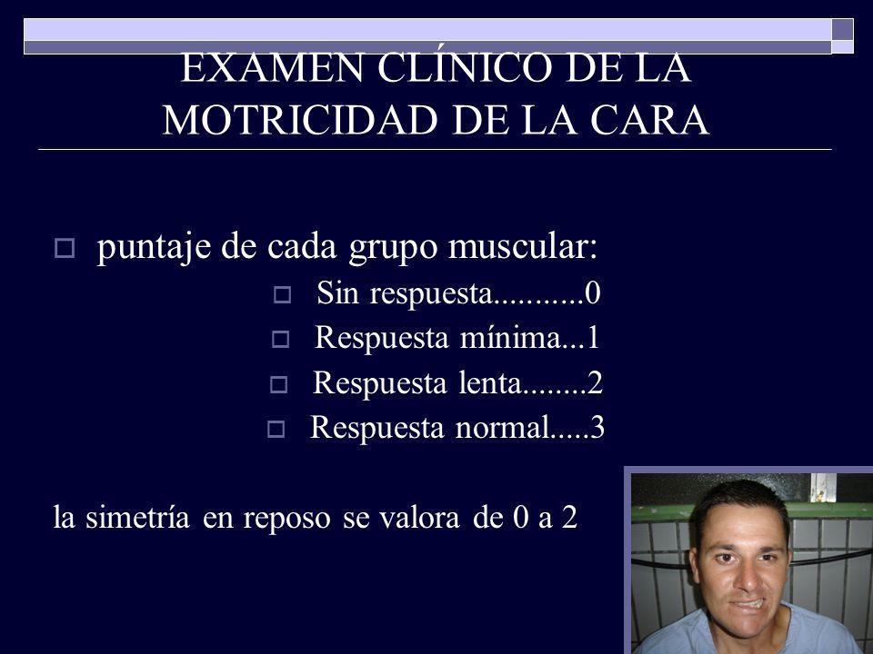 EXAMEN CLÍNICO DE LA MOTRICIDAD DE LA CARA