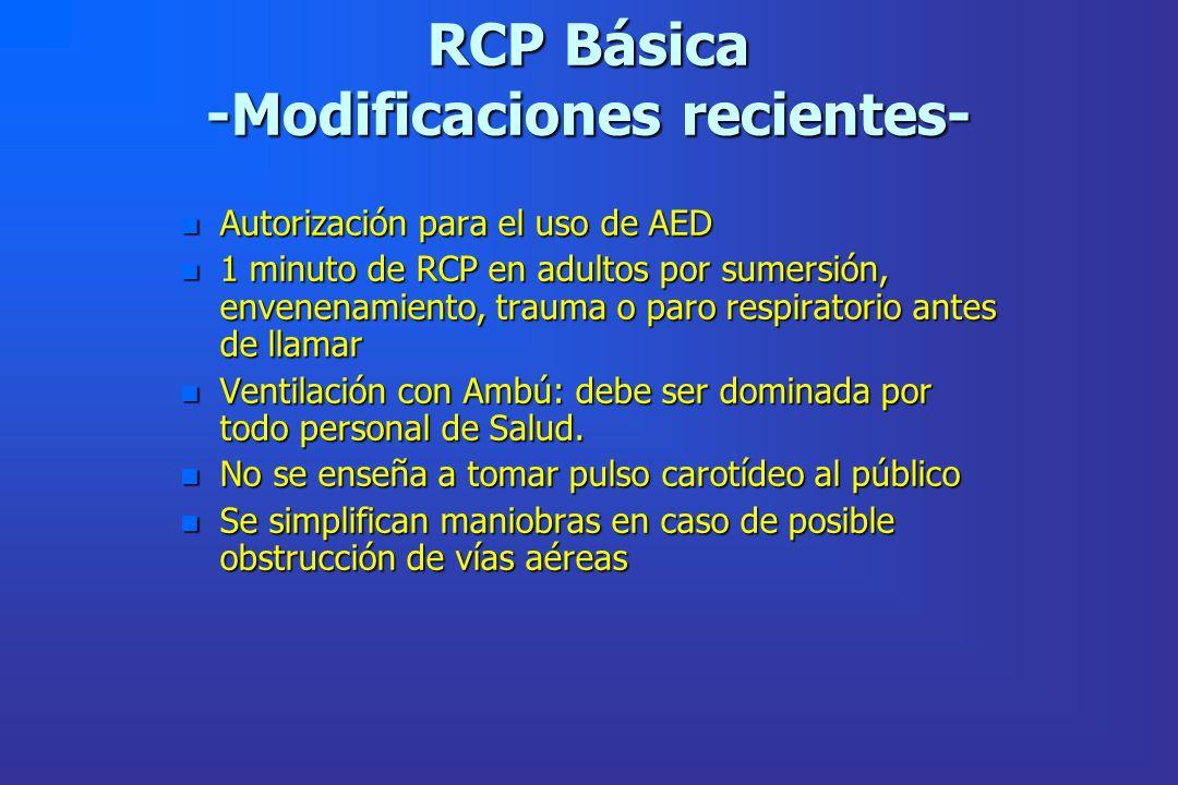 RCP Básica -Modificaciones recientes-
