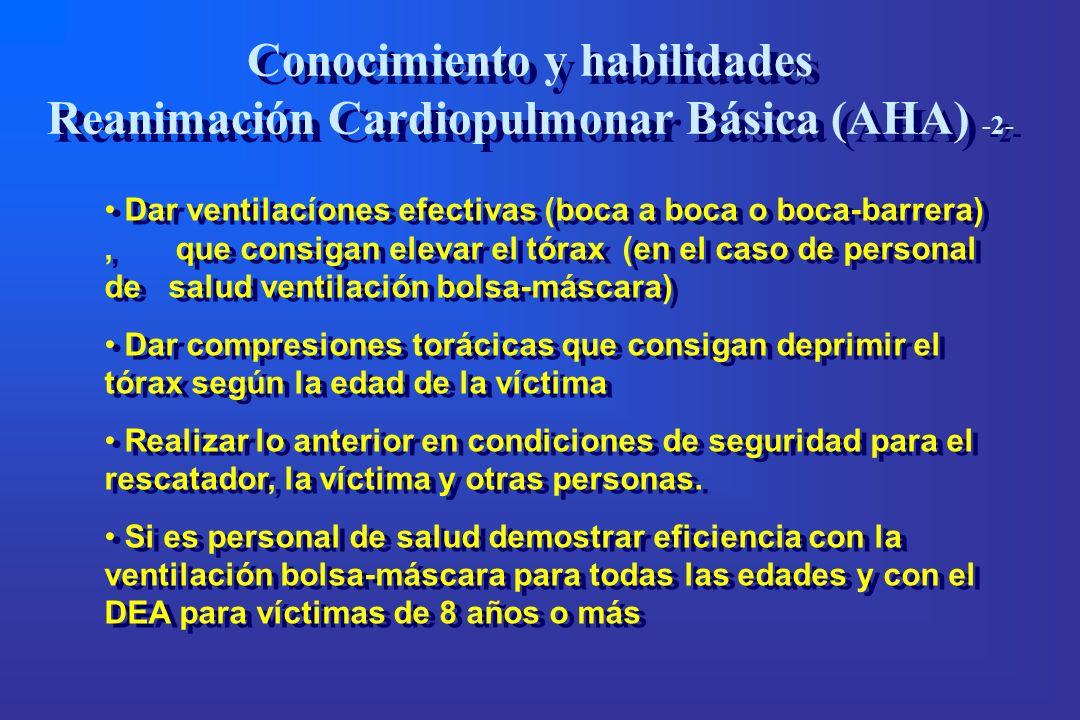 Conocimiento y habilidades Reanimación Cardiopulmonar Básica (AHA) -2-