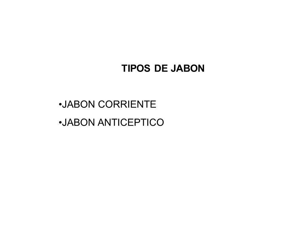 TIPOS DE JABON JABON CORRIENTE JABON ANTICEPTICO