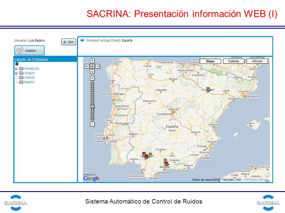 SACRINA: Presentación información WEB (I)