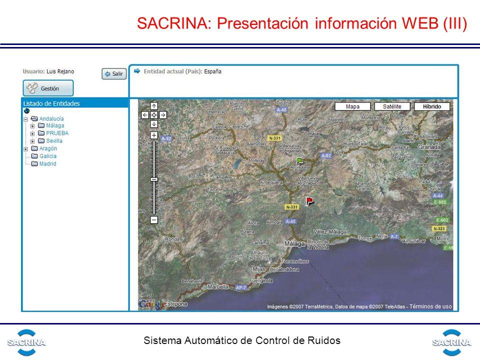 SACRINA: Presentación información WEB (III)