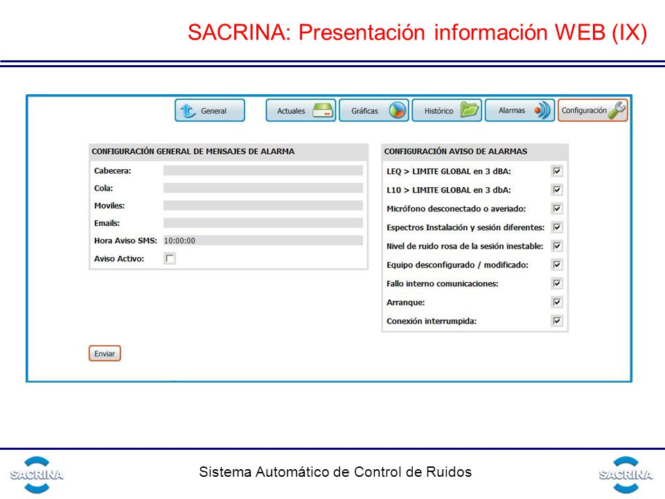 SACRINA: Presentación información WEB (IX)
