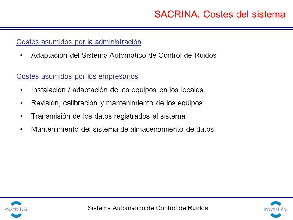 SACRINA: Costes del sistema