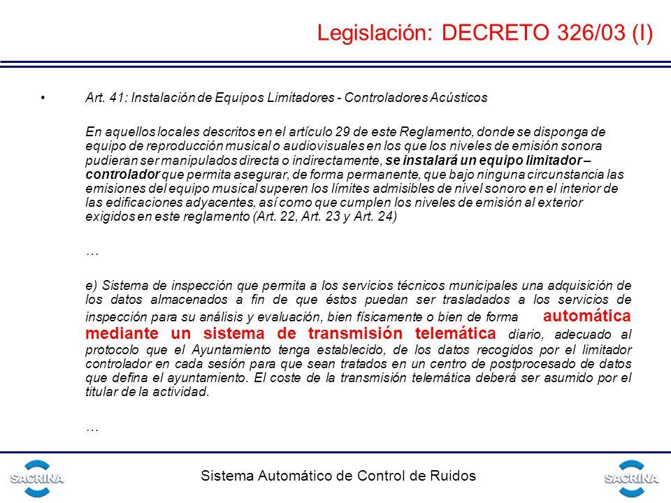 Legislación: DECRETO 326/03 (I)
