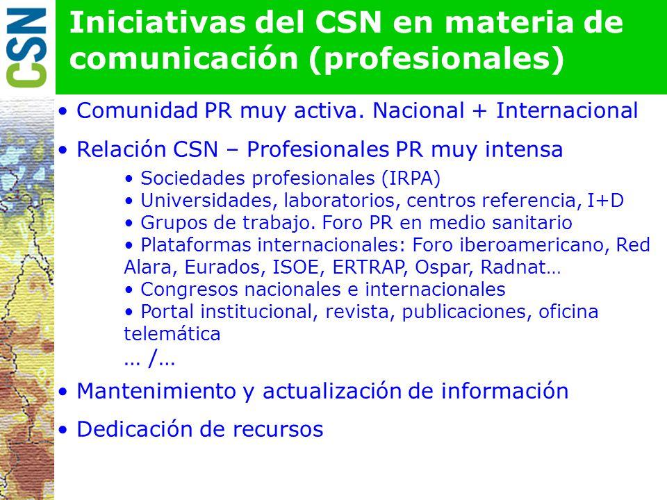 Iniciativas del CSN en materia de comunicación (profesionales)
