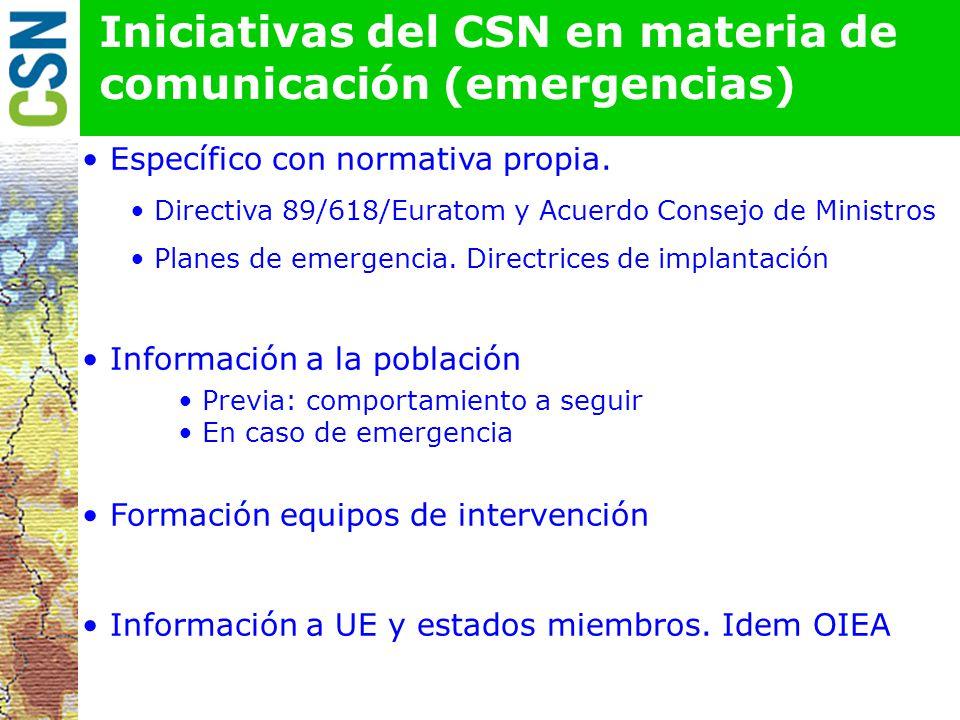Iniciativas del CSN en materia de comunicación (emergencias)