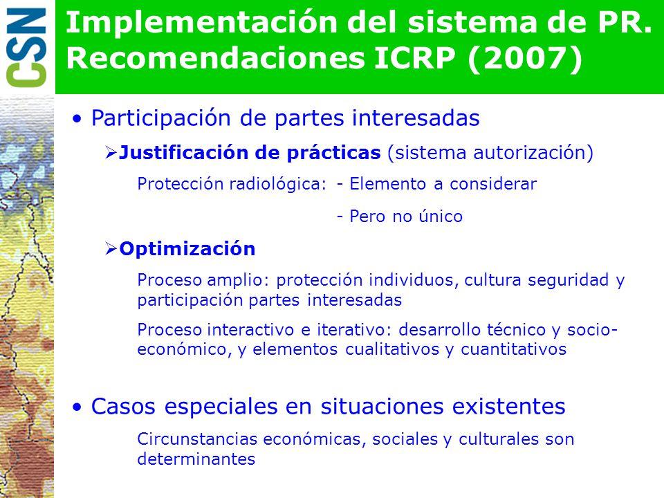 Implementación del sistema de PR. Recomendaciones ICRP (2007)